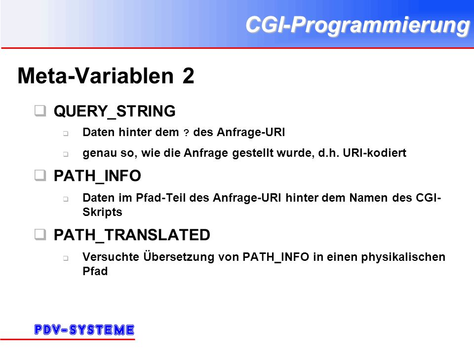 CGI-Programmierung Meta-Variablen 2 QUERY_STRING Daten hinter dem .