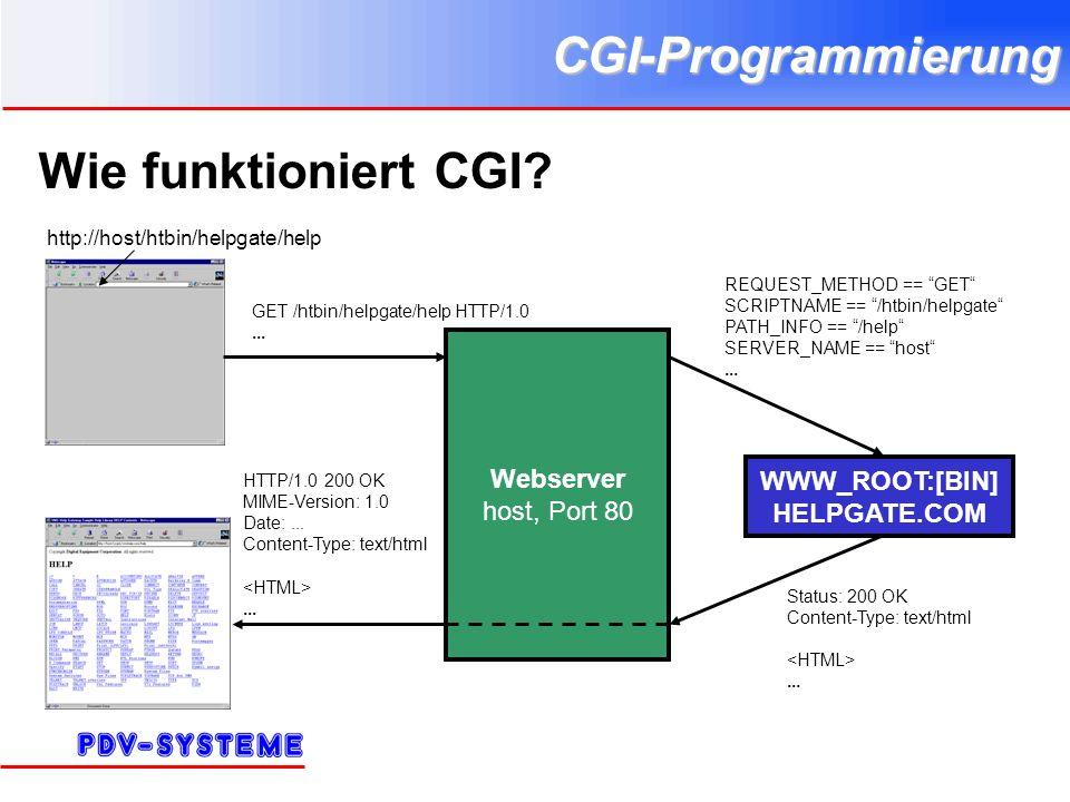CGI-Programmierung Wie funktioniert CGI? http://host/htbin/helpgate/help Webserver host, Port 80 WWW_ROOT:[BIN] HELPGATE.COM GET /htbin/helpgate/help