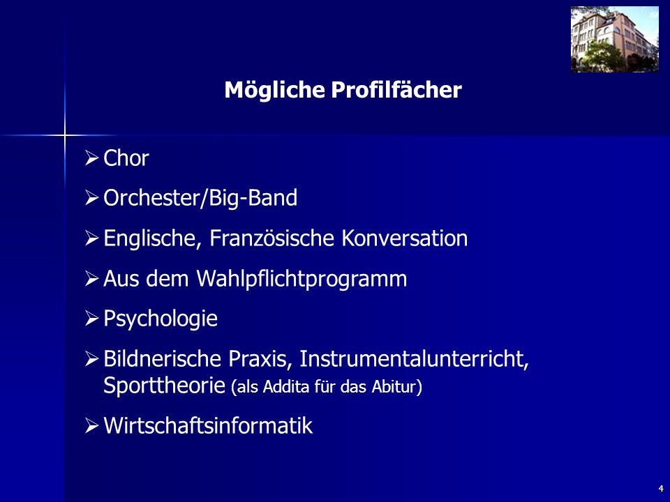 4 Mögliche Profilfächer Chor Orchester/Big-Band Englische, Französische Konversation Aus dem Wahlpflichtprogramm Psychologie Bildnerische Praxis, Instrumentalunterricht, Sporttheorie (als Addita für das Abitur) Wirtschaftsinformatik
