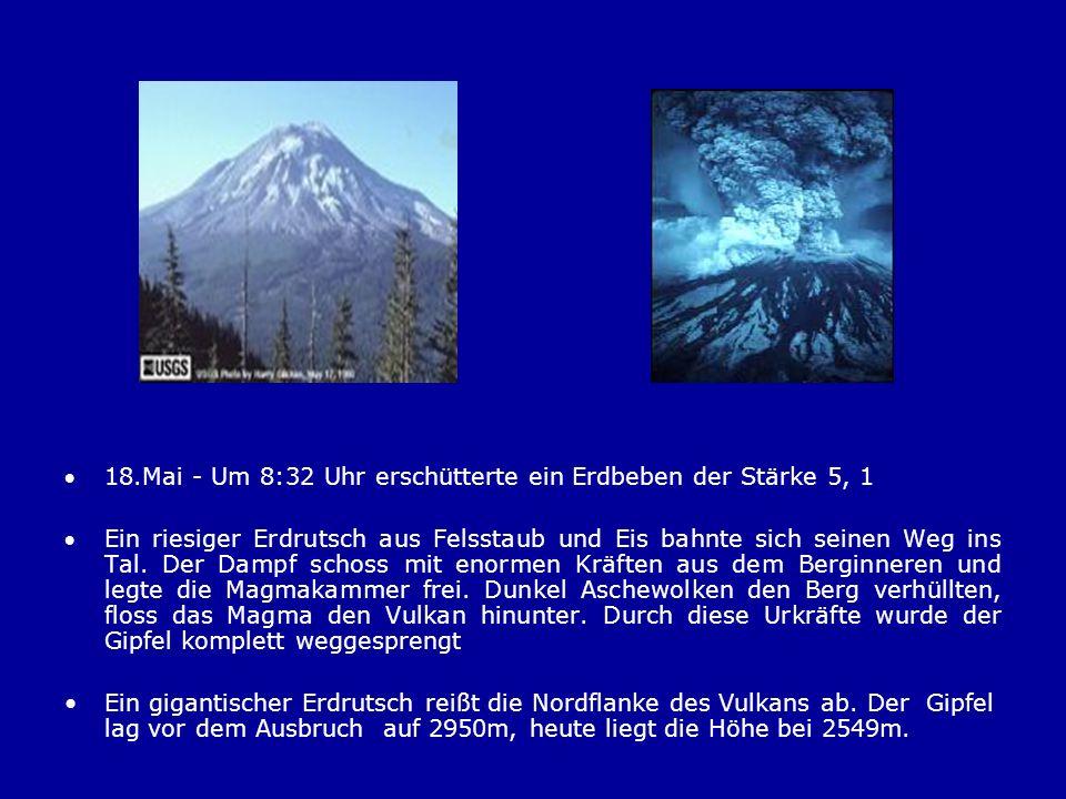 18.Mai - Um 8:32 Uhr erschütterte ein Erdbeben der Stärke 5, 1 Ein riesiger Erdrutsch aus Felsstaub und Eis bahnte sich seinen Weg ins Tal. Der Dampf