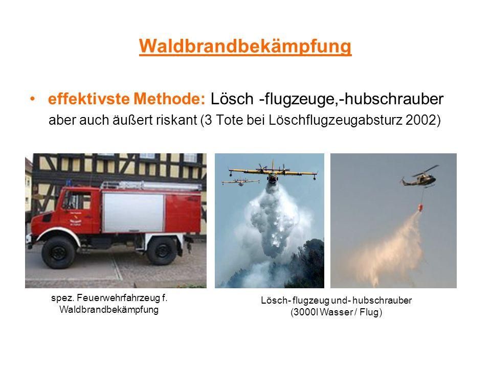 Waldbrandbekämpfung effektivste Methode: Lösch -flugzeuge,-hubschrauber aber auch äußert riskant (3 Tote bei Löschflugzeugabsturz 2002) spez. Feuerweh
