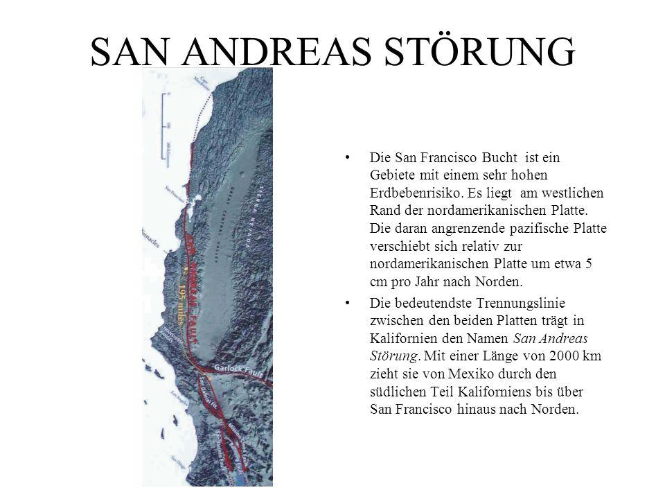 SAN ANDREAS STÖRUNG Die San Francisco Bucht ist ein Gebiete mit einem sehr hohen Erdbebenrisiko. Es liegt am westlichen Rand der nordamerikanischen Pl