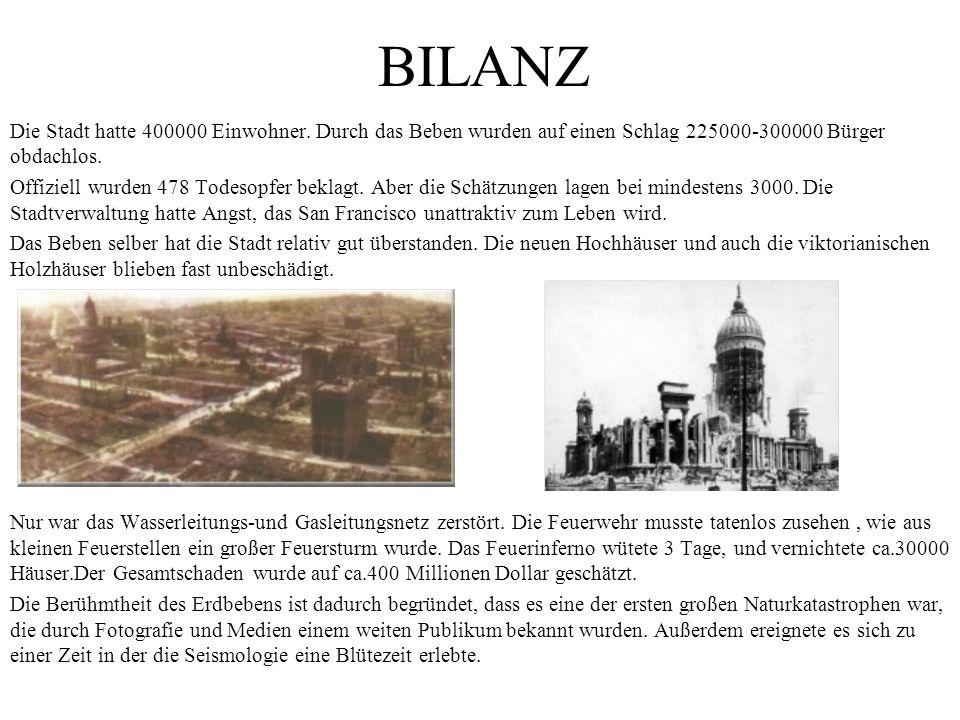 BILANZ Die Stadt hatte 400000 Einwohner. Durch das Beben wurden auf einen Schlag 225000-300000 Bürger obdachlos. Offiziell wurden 478 Todesopfer bekla