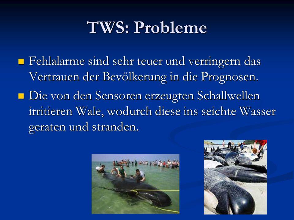 TWS: Probleme Fehlalarme sind sehr teuer und verringern das Vertrauen der Bevölkerung in die Prognosen. Fehlalarme sind sehr teuer und verringern das
