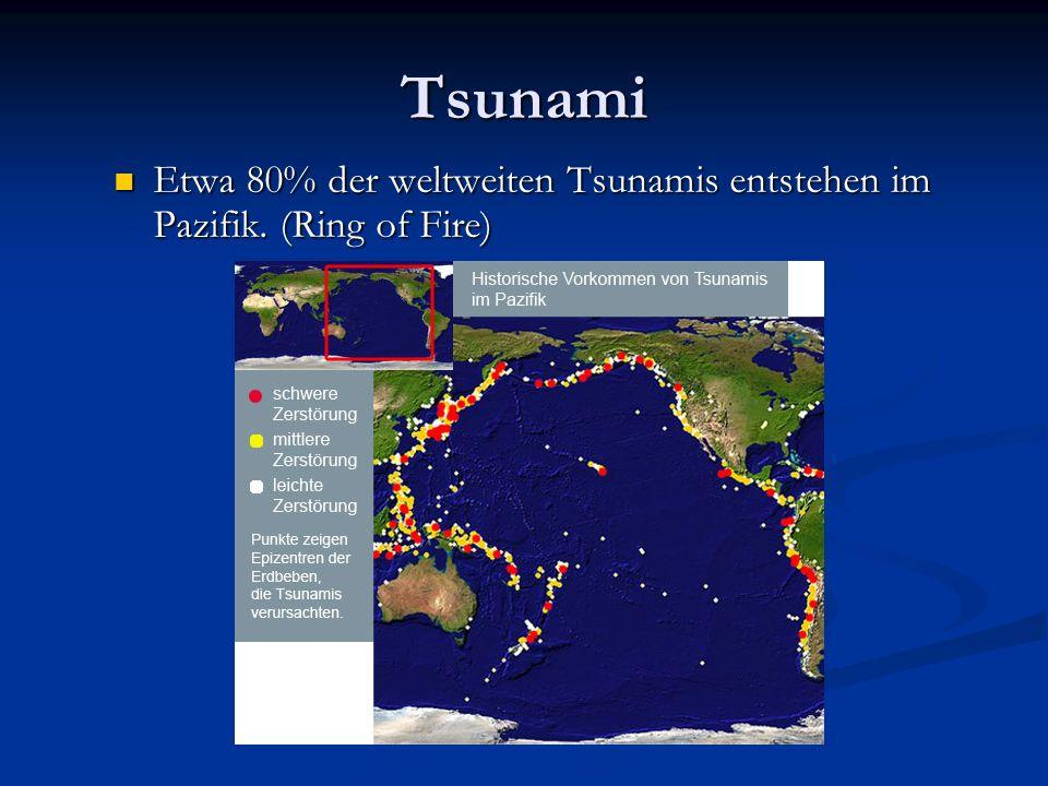Tsunami Etwa 80% der weltweiten Tsunamis entstehen im Pazifik. (Ring of Fire) Etwa 80% der weltweiten Tsunamis entstehen im Pazifik. (Ring of Fire)