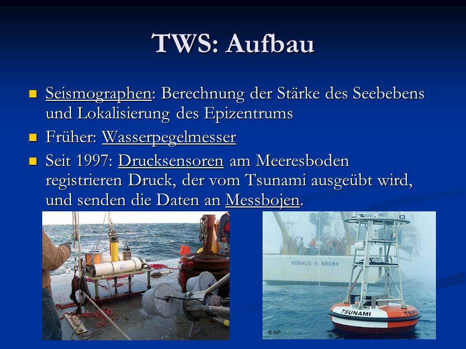 TWS: Aufbau Seismographen: Berechnung der Stärke des Seebebens und Lokalisierung des Epizentrums Seismographen: Berechnung der Stärke des Seebebens un