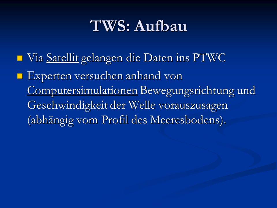 TWS: Aufbau Via Satellit gelangen die Daten ins PTWC Via Satellit gelangen die Daten ins PTWC Experten versuchen anhand von Computersimulationen Beweg