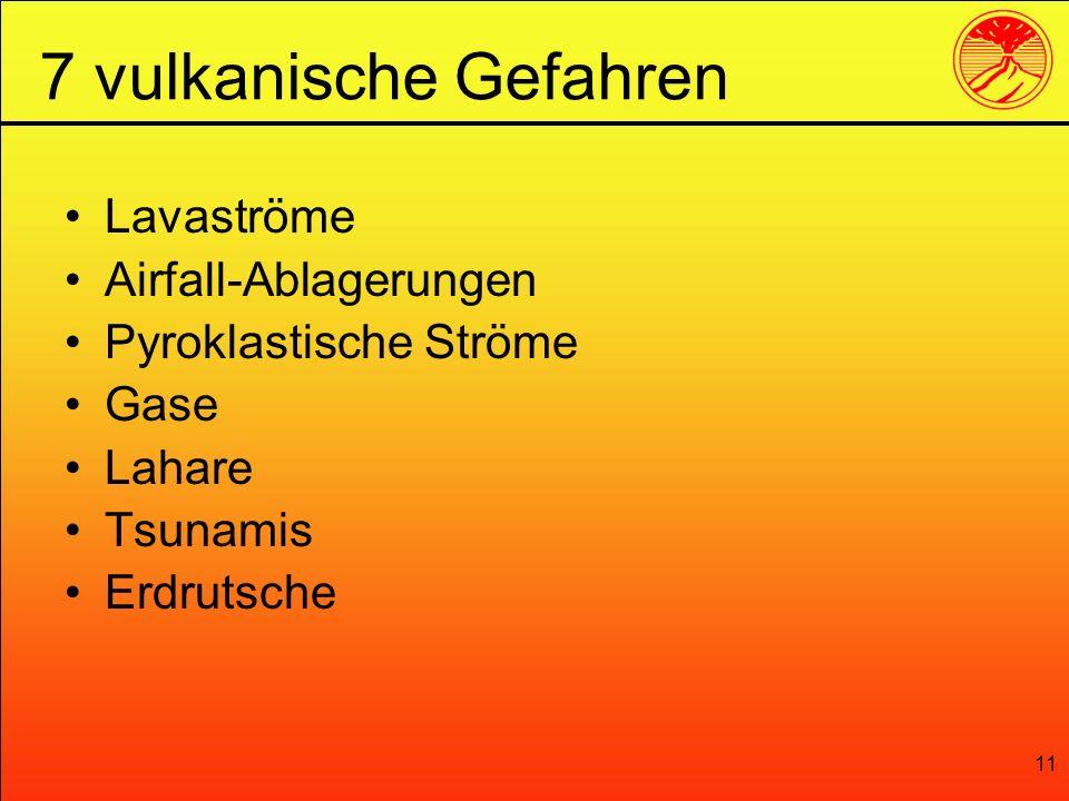 11 Lavaströme Airfall-Ablagerungen Pyroklastische Ströme Gase Lahare Tsunamis Erdrutsche 7 vulkanische Gefahren
