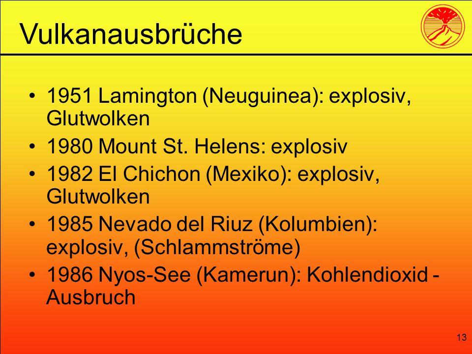 13 1951 Lamington (Neuguinea): explosiv, Glutwolken 1980 Mount St. Helens: explosiv 1982 El Chichon (Mexiko): explosiv, Glutwolken 1985 Nevado del Riu