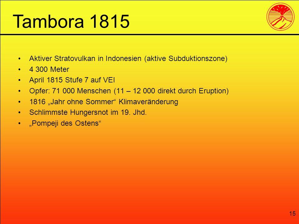 15 Aktiver Stratovulkan in Indonesien (aktive Subduktionszone) 4 300 Meter April 1815 Stufe 7 auf VEI Opfer: 71 000 Menschen (11 – 12 000 direkt durch