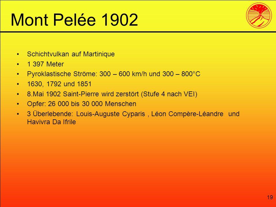 19 Schichtvulkan auf Martinique 1 397 Meter Pyroklastische Ströme: 300 – 600 km/h und 300 – 800°C 1630, 1792 und 1851 8.Mai 1902 Saint-Pierre wird zer