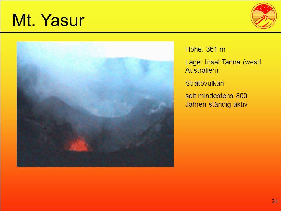 24 Mt. Yasur Höhe: 361 m Lage: Insel Tanna (westl. Australien) Stratovulkan seit mindestens 800 Jahren ständig aktiv