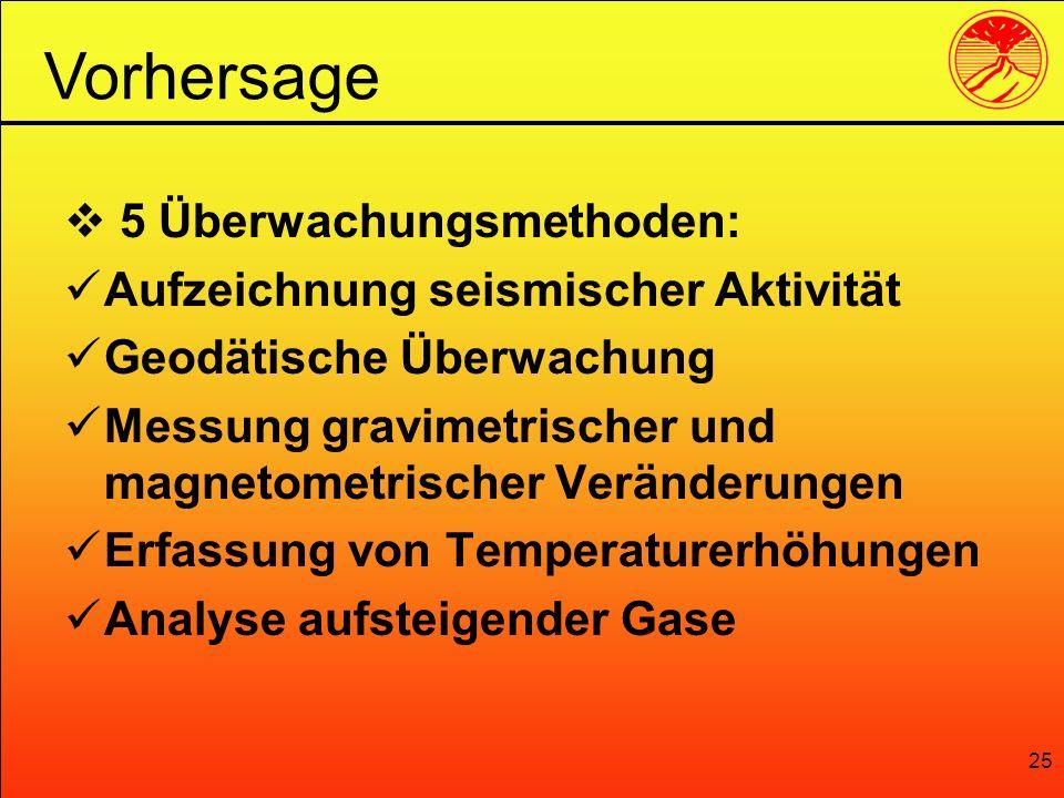 25 5 Überwachungsmethoden: Aufzeichnung seismischer Aktivität Geodätische Überwachung Messung gravimetrischer und magnetometrischer Veränderungen Erfa