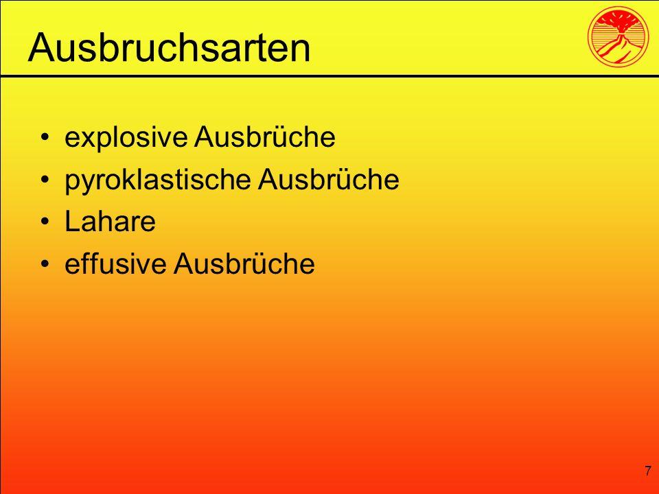 7 explosive Ausbrüche pyroklastische Ausbrüche Lahare effusive Ausbrüche Ausbruchsarten