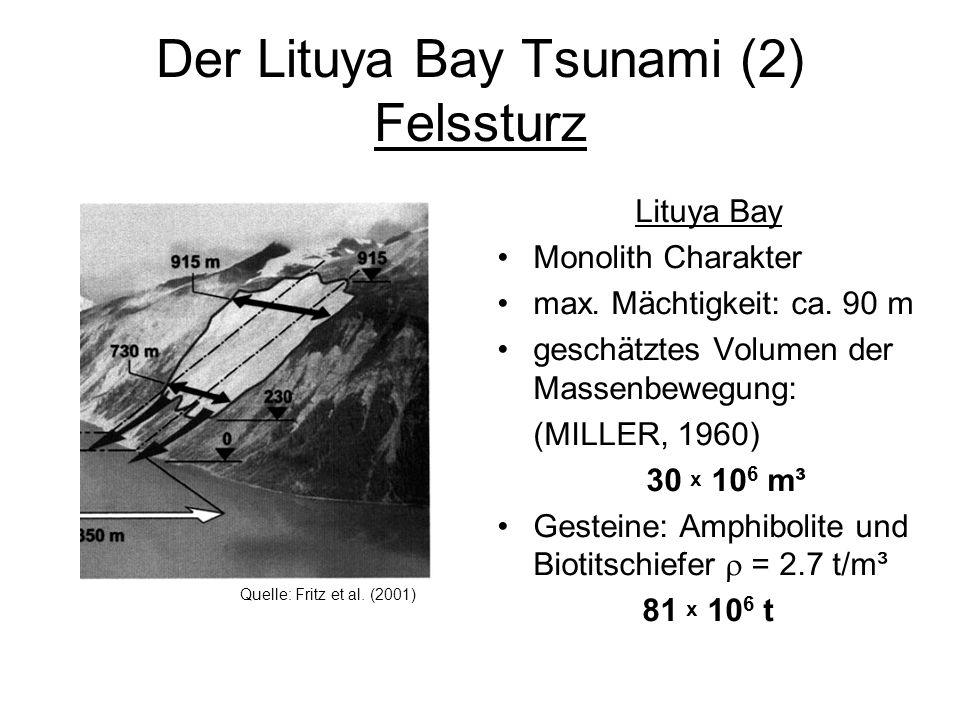 Der Lituya Bay Tsunami (2) Felssturz Lituya Bay Monolith Charakter max. Mächtigkeit: ca. 90 m geschätztes Volumen der Massenbewegung: (MILLER, 1960) 3