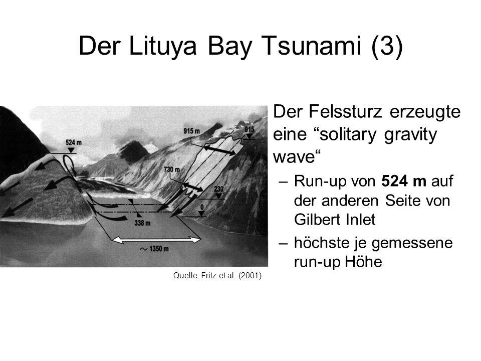Der Lituya Bay Tsunami (3) Der Felssturz erzeugte eine solitary gravity wave –Run-up von 524 m auf der anderen Seite von Gilbert Inlet –höchste je gem