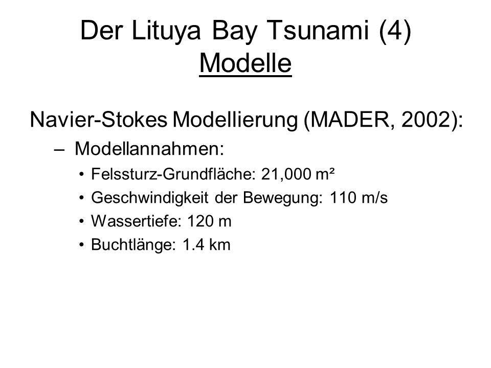 Der Lituya Bay Tsunami (4) Modelle Navier-Stokes Modellierung (MADER, 2002): – Modellannahmen: Felssturz-Grundfläche: 21,000 m² Geschwindigkeit der Be