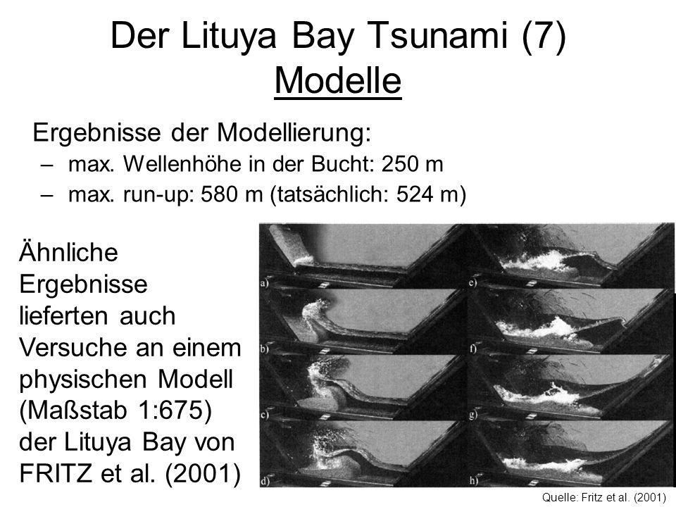 Der Lituya Bay Tsunami (7) Modelle Ergebnisse der Modellierung: – max. Wellenhöhe in der Bucht: 250 m – max. run-up: 580 m (tatsächlich: 524 m) Ähnlic