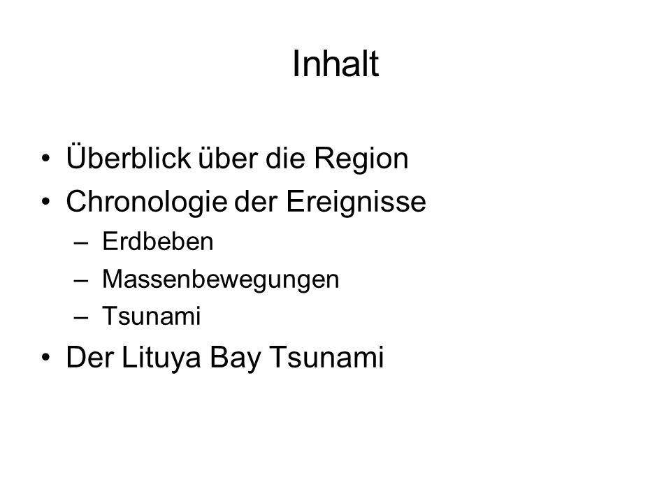 Inhalt Überblick über die Region Chronologie der Ereignisse – Erdbeben – Massenbewegungen – Tsunami Der Lituya Bay Tsunami