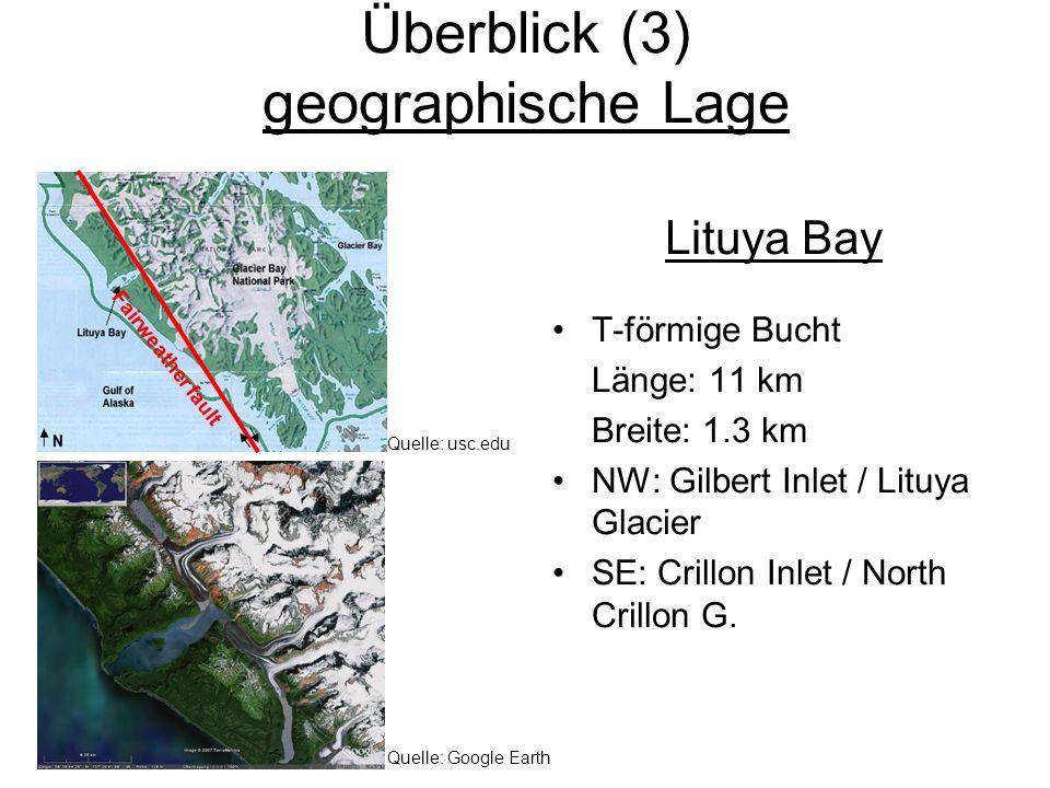 Überblick (3) geographische Lage Lituya Bay T-förmige Bucht Länge: 11 km Breite: 1.3 km NW: Gilbert Inlet / Lituya Glacier SE: Crillon Inlet / North C