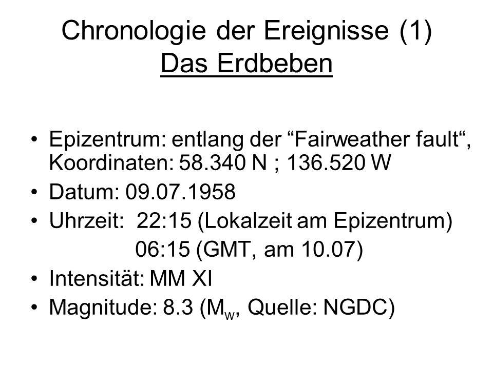 Chronologie der Ereignisse (1) Das Erdbeben Epizentrum: entlang der Fairweather fault, Koordinaten: 58.340 N ; 136.520 W Datum: 09.07.1958 Uhrzeit: 22