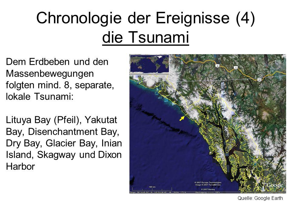 Chronologie der Ereignisse (4) die Tsunami Dem Erdbeben und den Massenbewegungen folgten mind. 8, separate, lokale Tsunami: Lituya Bay (Pfeil), Yakuta