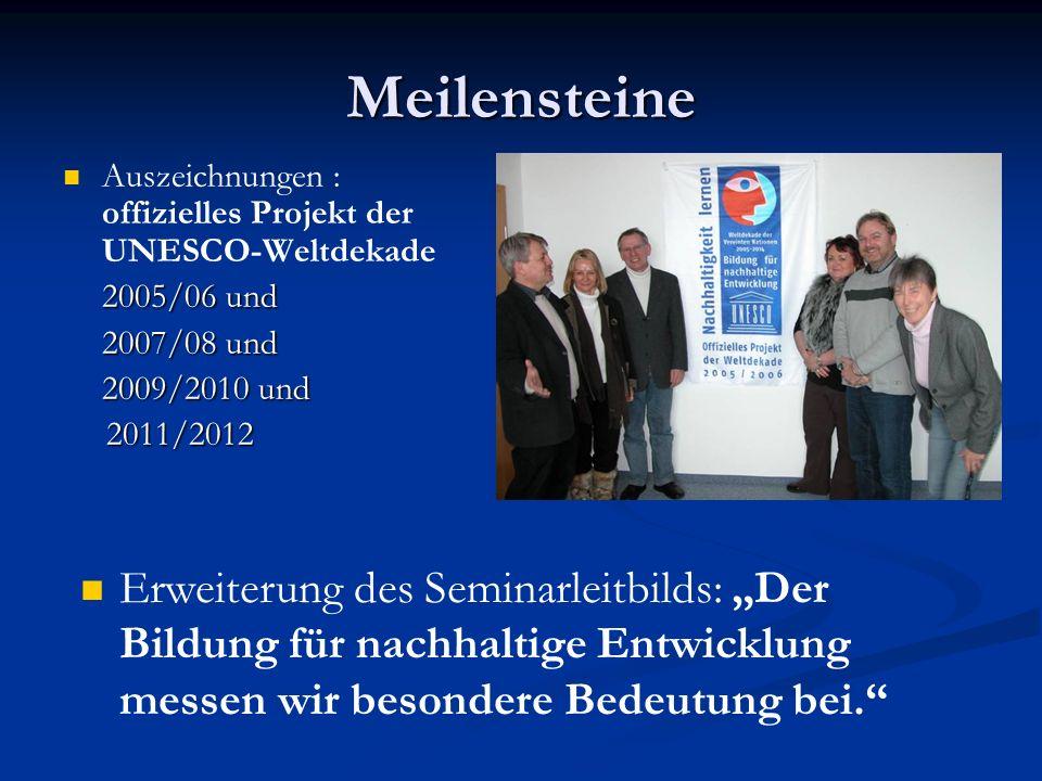 Meilensteine Auszeichnungen : offizielles Projekt der UNESCO-Weltdekade 2005/06 und 2007/08 und 2007/08 und 2009/2010 und 2011/2012 2011/2012 Erweiterung des Seminarleitbilds: Der Bildung für nachhaltige Entwicklung messen wir besondere Bedeutung bei.