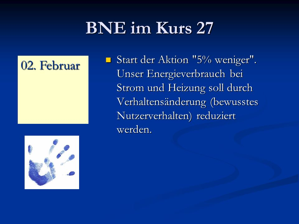 BNE im Kurs 27 Start der Aktion