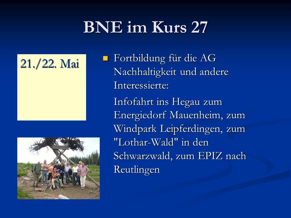 BNE im Kurs 27 Fortbildung für die AG Nachhaltigkeit und andere Interessierte: Fortbildung für die AG Nachhaltigkeit und andere Interessierte: Infofahrt ins Hegau zum Energiedorf Mauenheim, zum Windpark Leipferdingen, zum Lothar-Wald in den Schwarzwald, zum EPIZ nach Reutlingen 21./22.