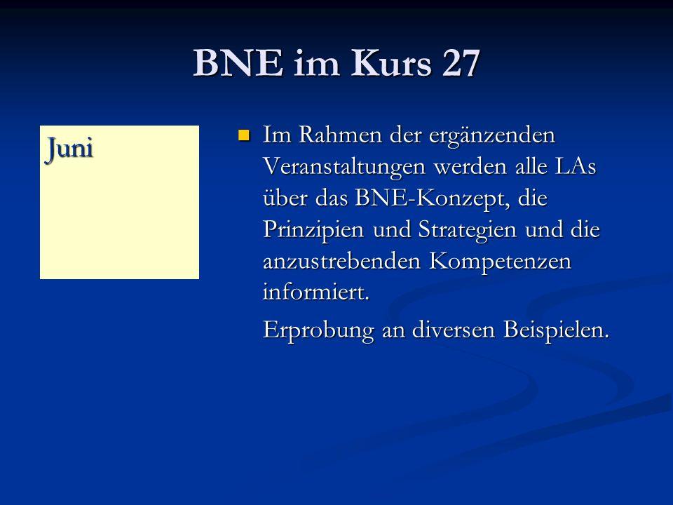 BNE im Kurs 27 Im Rahmen der ergänzenden Veranstaltungen werden alle LAs über das BNE-Konzept, die Prinzipien und Strategien und die anzustrebenden Kompetenzen informiert.