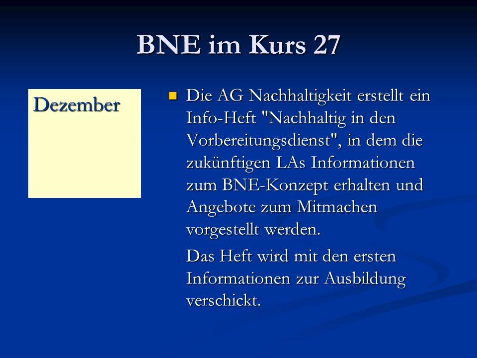 BNE im Kurs 27 Die AG Nachhaltigkeit erstellt ein Info-Heft Nachhaltig in den Vorbereitungsdienst , in dem die zukünftigen LAs Informationen zum BNE-Konzept erhalten und Angebote zum Mitmachen vorgestellt werden.