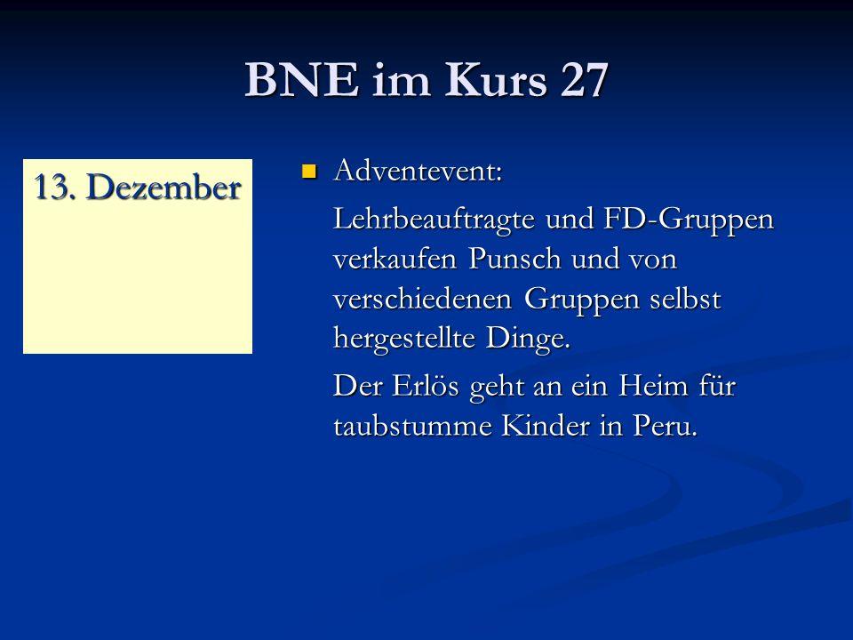 BNE im Kurs 27 Adventevent: Adventevent: Lehrbeauftragte und FD-Gruppen verkaufen Punsch und von verschiedenen Gruppen selbst hergestellte Dinge.