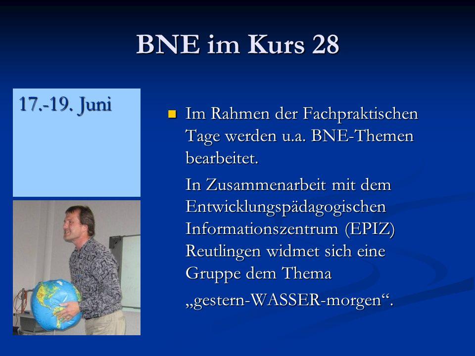 BNE im Kurs 28 Im Rahmen der Fachpraktischen Tage werden u.a.