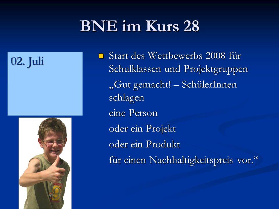 BNE im Kurs 28 Start des Wettbewerbs 2008 für Schulklassen und Projektgruppen Start des Wettbewerbs 2008 für Schulklassen und Projektgruppen Gut gemacht.