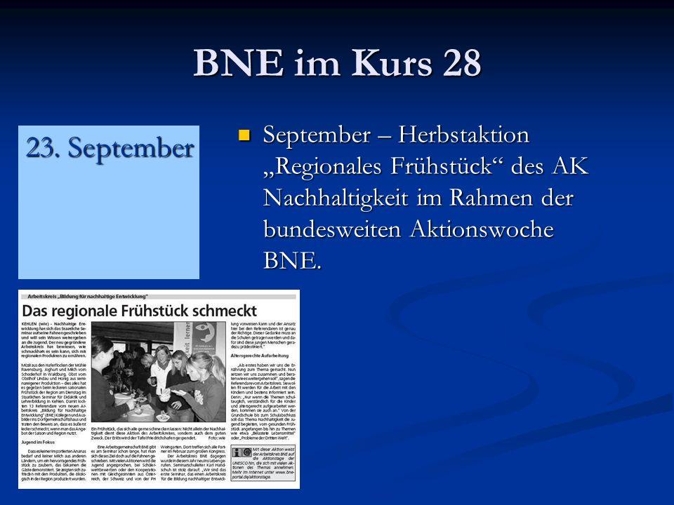 BNE im Kurs 28 September – Herbstaktion Regionales Frühstück des AK Nachhaltigkeit im Rahmen der bundesweiten Aktionswoche BNE.