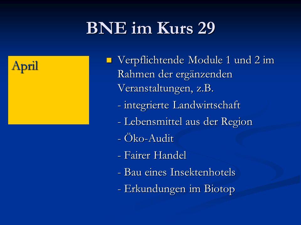 BNE im Kurs 29 Verpflichtende Module 1 und 2 im Rahmen der ergänzenden Veranstaltungen, z.B.