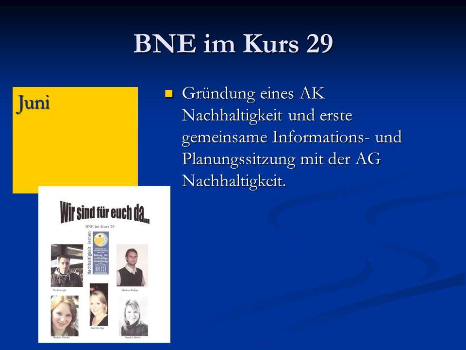 BNE im Kurs 29 Gründung eines AK Nachhaltigkeit und erste gemeinsame Informations- und Planungssitzung mit der AG Nachhaltigkeit.