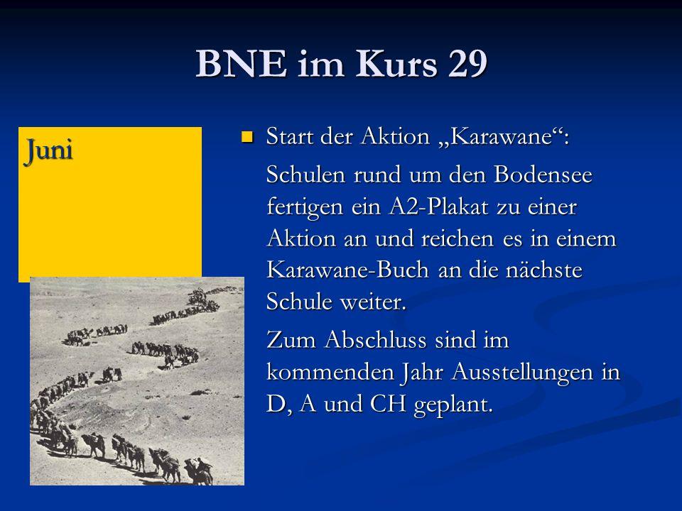 BNE im Kurs 29 Start der Aktion Karawane: Start der Aktion Karawane: Schulen rund um den Bodensee fertigen ein A2-Plakat zu einer Aktion an und reichen es in einem Karawane-Buch an die nächste Schule weiter.