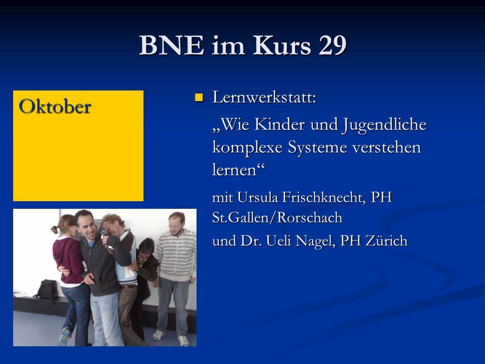 BNE im Kurs 29 Oktober Lernwerkstatt: Lernwerkstatt: Wie Kinder und Jugendliche komplexe Systeme verstehen lernen mit Ursula Frischknecht, PH St.Gallen/Rorschach und Dr.