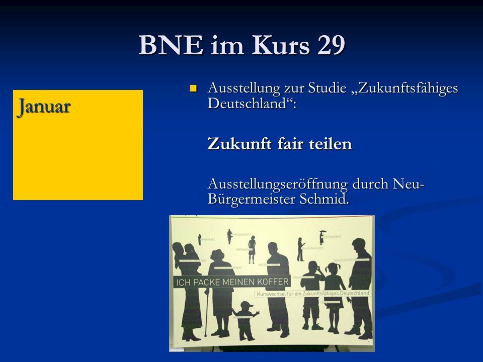 BNE im Kurs 29 Ausstellung zur Studie Zukunftsfähiges Deutschland: Ausstellung zur Studie Zukunftsfähiges Deutschland: Zukunft fair teilen Ausstellungseröffnung durch Neu- Bürgermeister Schmid.