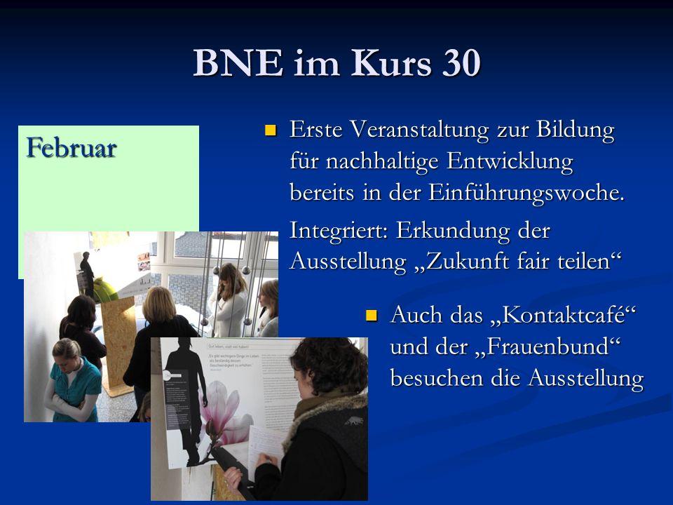 BNE im Kurs 30 Erste Veranstaltung zur Bildung für nachhaltige Entwicklung bereits in der Einführungswoche.