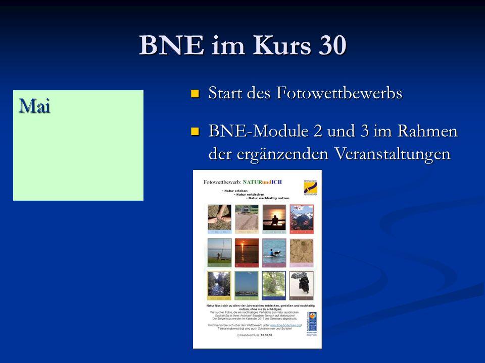 BNE im Kurs 30 Start des Fotowettbewerbs Start des Fotowettbewerbs Mai BNE-Module 2 und 3 im Rahmen der ergänzenden Veranstaltungen BNE-Module 2 und 3 im Rahmen der ergänzenden Veranstaltungen