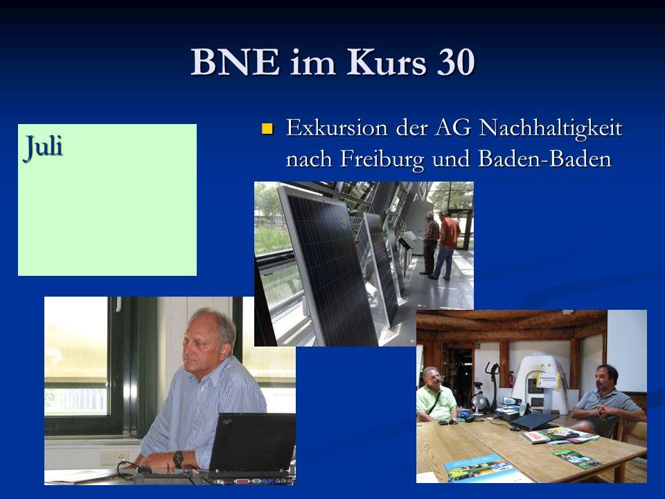 BNE im Kurs 30 Exkursion der AG Nachhaltigkeit nach Freiburg und Baden-Baden Exkursion der AG Nachhaltigkeit nach Freiburg und Baden-Baden Juli