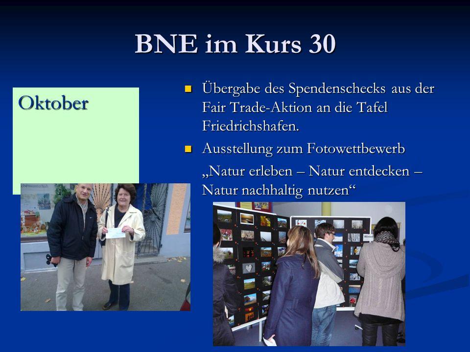 BNE im Kurs 30 Übergabe des Spendenschecks aus der Fair Trade-Aktion an die Tafel Friedrichshafen.