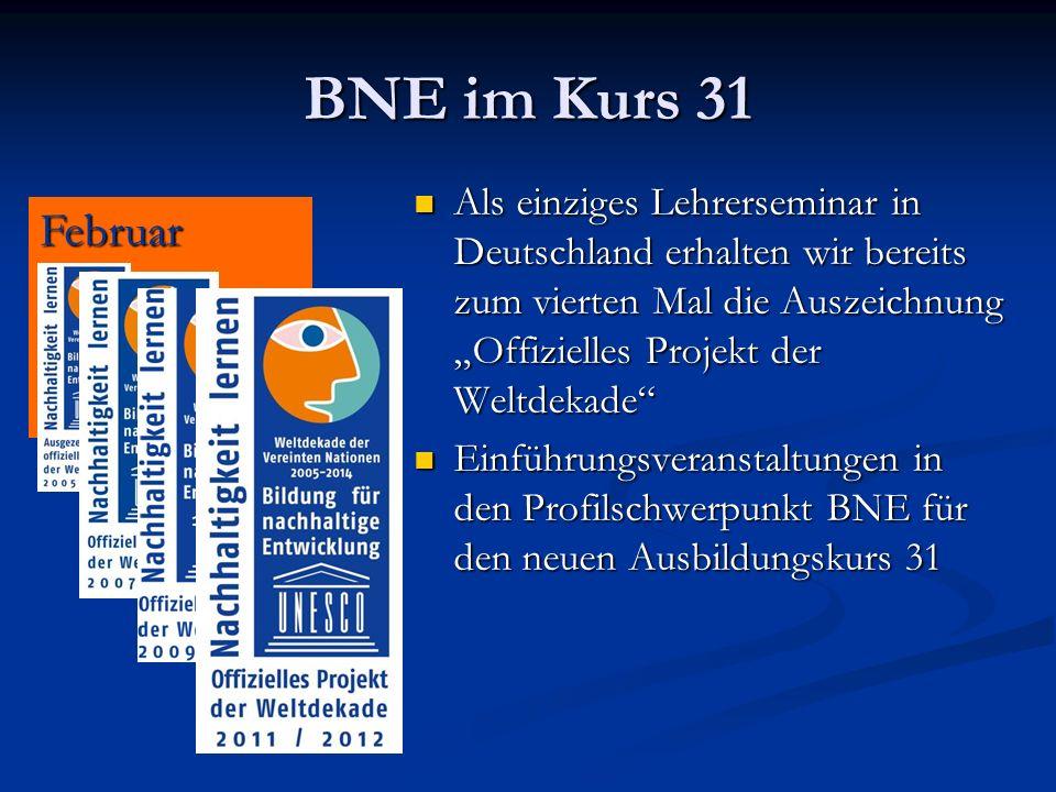 BNE im Kurs 31 Als einziges Lehrerseminar in Deutschland erhalten wir bereits zum vierten Mal die Auszeichnung Offizielles Projekt der Weltdekade Als einziges Lehrerseminar in Deutschland erhalten wir bereits zum vierten Mal die Auszeichnung Offizielles Projekt der Weltdekade Einführungsveranstaltungen in den Profilschwerpunkt BNE für den neuen Ausbildungskurs 31 Einführungsveranstaltungen in den Profilschwerpunkt BNE für den neuen Ausbildungskurs 31 Februar