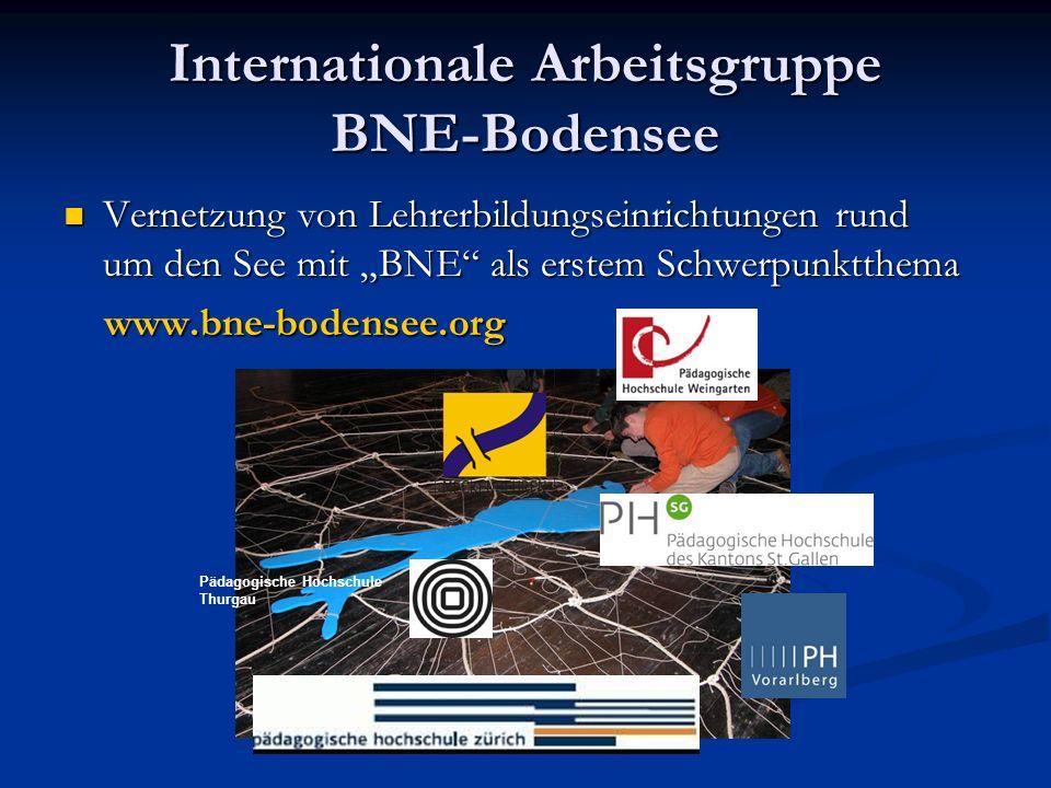 Internationale Arbeitsgruppe BNE-Bodensee Vernetzung von Lehrerbildungseinrichtungen rund um den See mit BNE als erstem Schwerpunktthema Vernetzung von Lehrerbildungseinrichtungen rund um den See mit BNE als erstem Schwerpunktthema www.bne-bodensee.org www.bne-bodensee.org Pädagogische Hochschule Thurgau