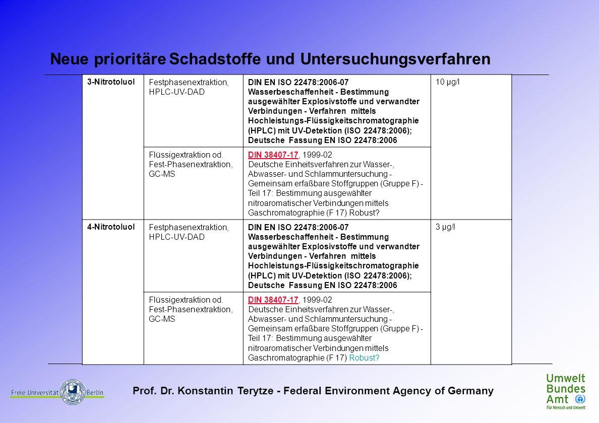 Prof. Dr. Konstantin Terytze - Federal Environment Agency of Germany Neue prioritäre Schadstoffe und Untersuchungsverfahren 3-NitrotoluolFestphasenext