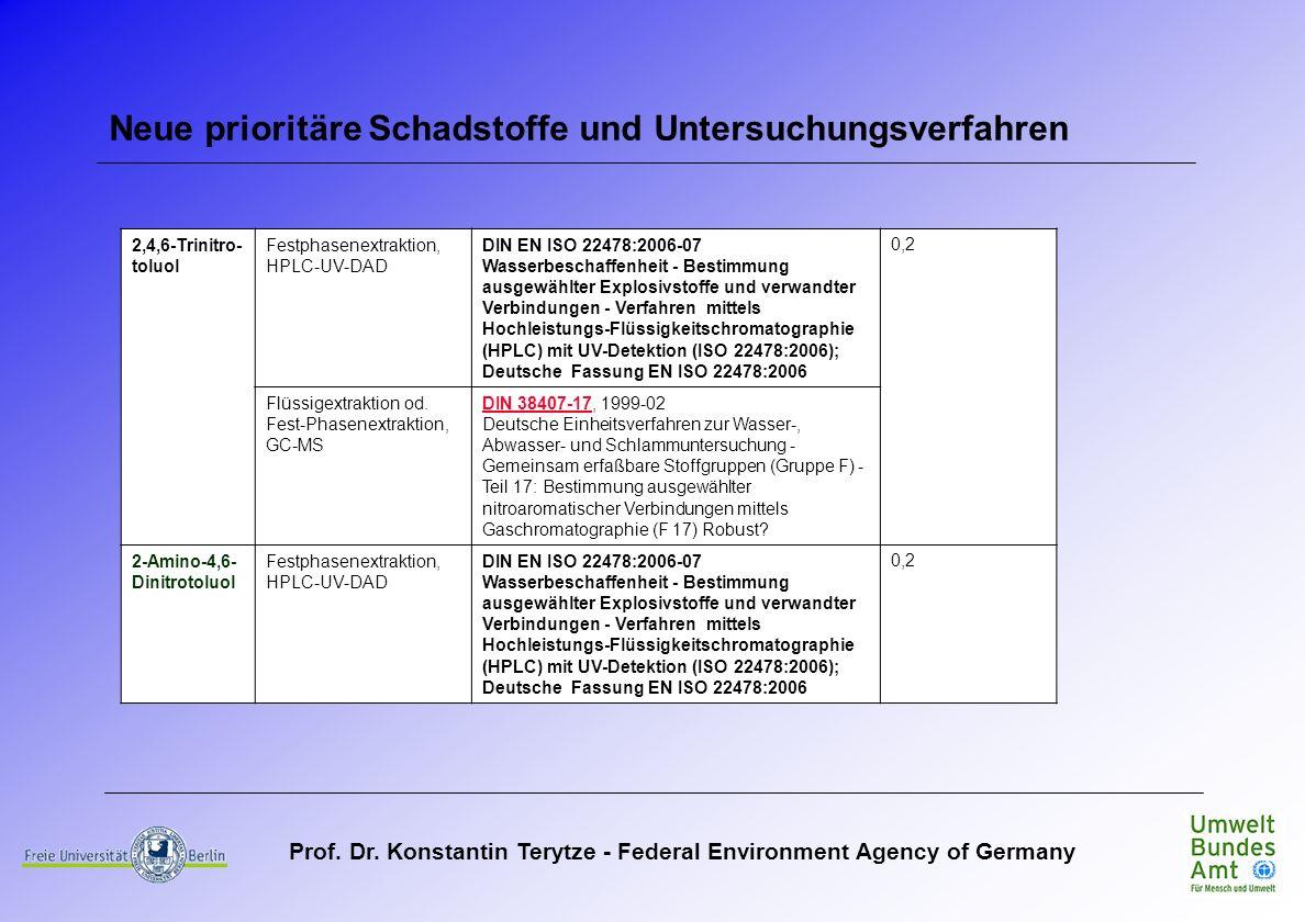 Prof. Dr. Konstantin Terytze - Federal Environment Agency of Germany Neue prioritäre Schadstoffe und Untersuchungsverfahren 2,4,6-Trinitro- toluol Fes