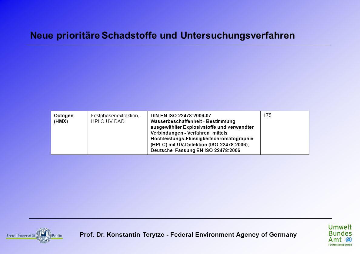 Prof. Dr. Konstantin Terytze - Federal Environment Agency of Germany Neue prioritäre Schadstoffe und Untersuchungsverfahren Octogen (HMX) Festphasenex