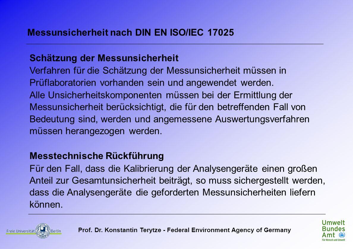 Prof. Dr. Konstantin Terytze - Federal Environment Agency of Germany Messunsicherheit nach DIN EN ISO/IEC 17025 Schätzung der Messunsicherheit Verfahr